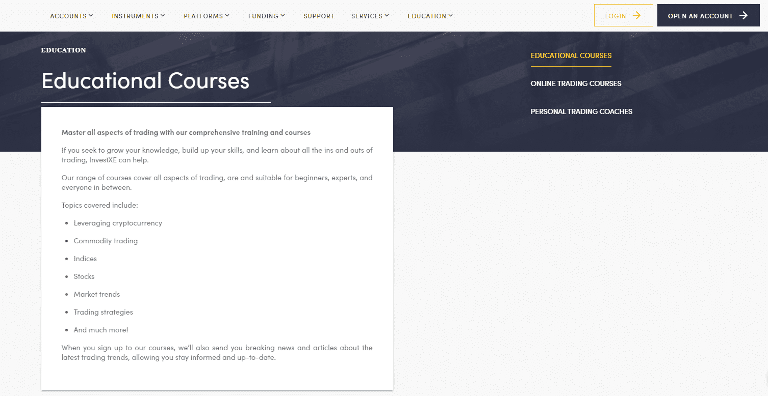 InvestXE Review- Education Courses Overview